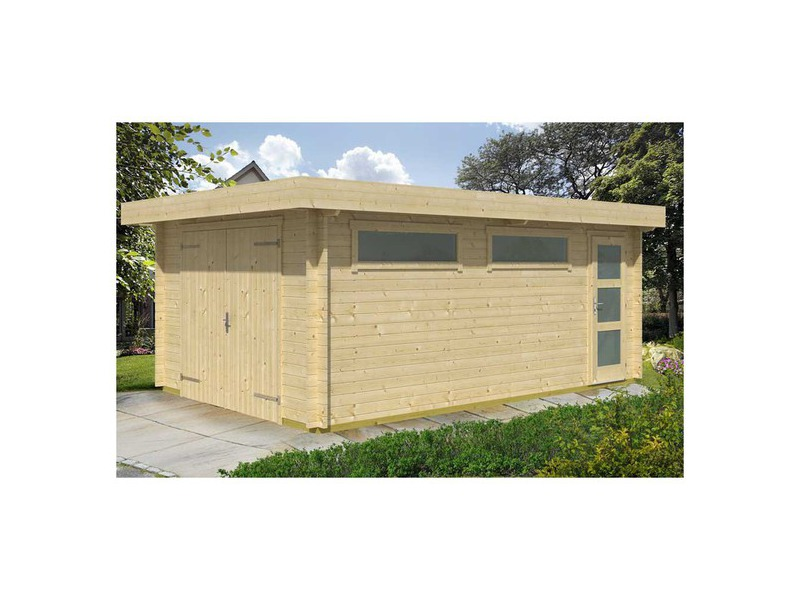 Garage en bois contemporain porte battante piscine for Porte local piscine