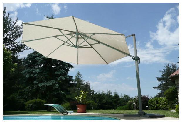 Parasol orientable en toile polyester de 250 gr d port 3 couleurs jardin - Parasol deporte orientable et inclinable ...
