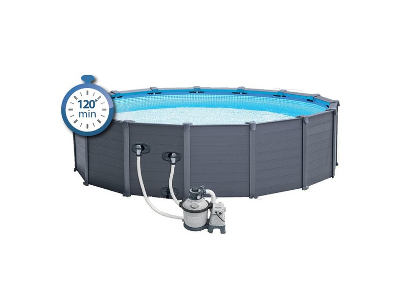 Piscine hors sol intex graphite habillage pvc gris piscine for Piscine hors sol pvc intex