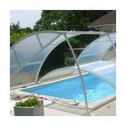 Abris  piscine bas clair amovibles pose sur margelle