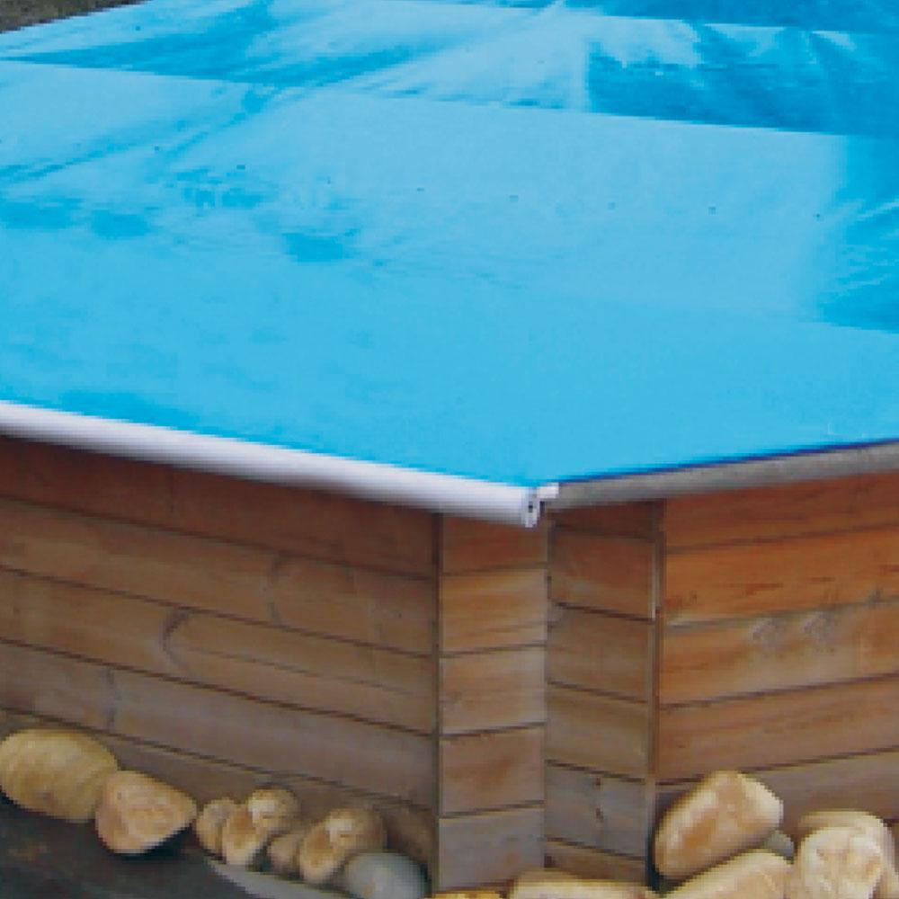 Baches à barres pour piscine bois original 434 x 434