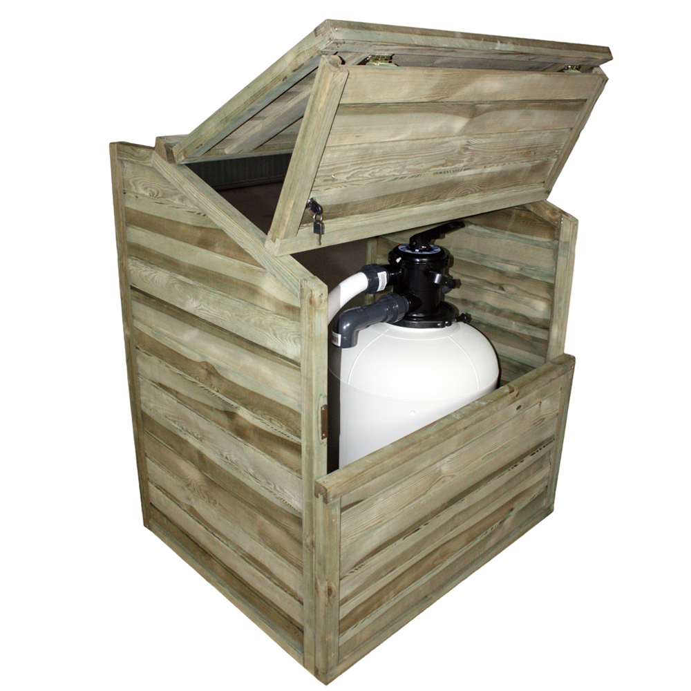 Coffre de filtration pour piscine bois