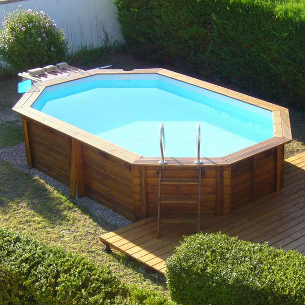 Piscine Woodfirst octogonale allongée 637 x 412 x 133 cm