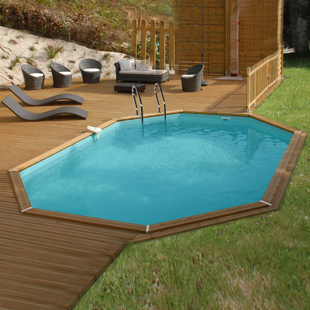 Piscine Woodfirst octogonale allongée 672 x 472 x 146 cm