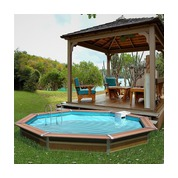 Waterclip Piscine Bois Alu Octogonale