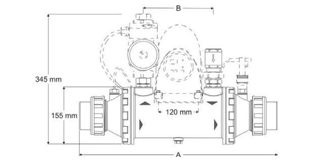 heat line PSA Zodiac - echangeur - dimensions