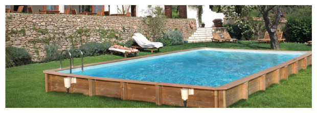 Odyssea recto piscine bois facilit de montage et for Liner pour piscine enterree rectangulaire