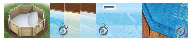 piscine bois rectangulaire revêtement et couverture
