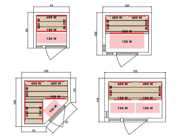 sauna soleil blanc - dimensions 1 à 3 places