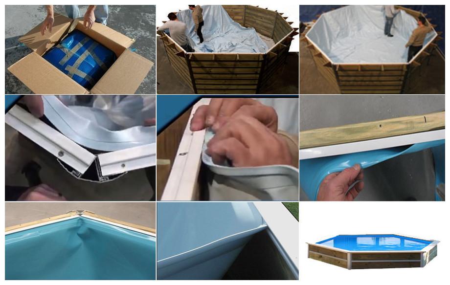 liner bleu pour piscine bois waterclip minduro