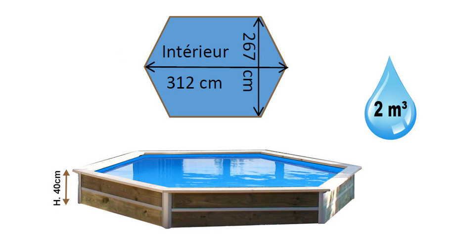 dimensions de la piscine bois hexagonale waterclip minduro