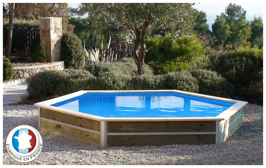piscine bois hexagonale waterclip minduro en situation*