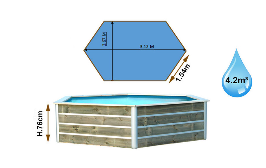 dimension de la piscine bois waterclip hexagonale jolo en situation