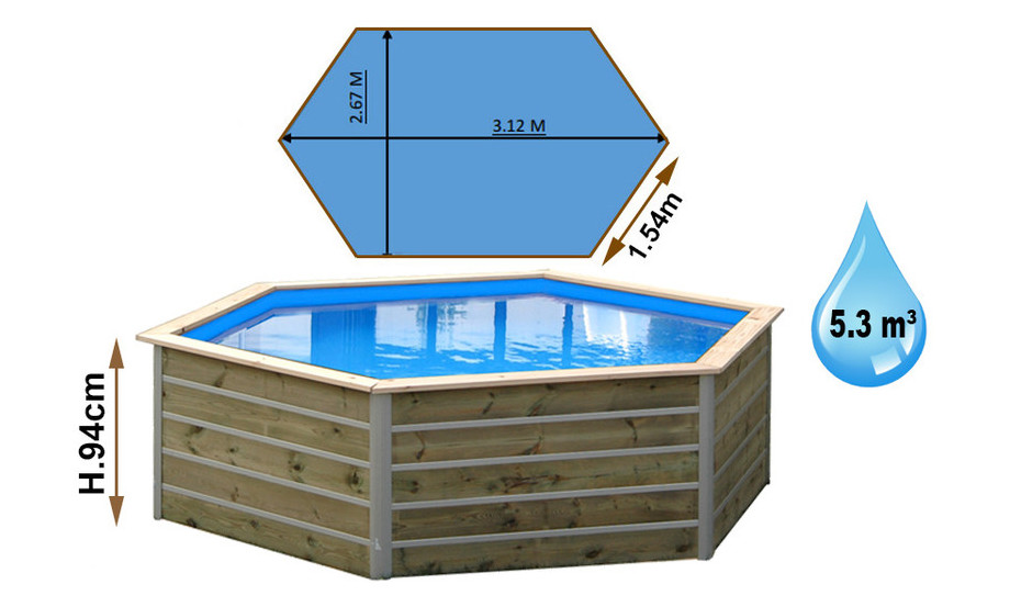 dimensions piscine bois Waterclip haxagonale sibuyan