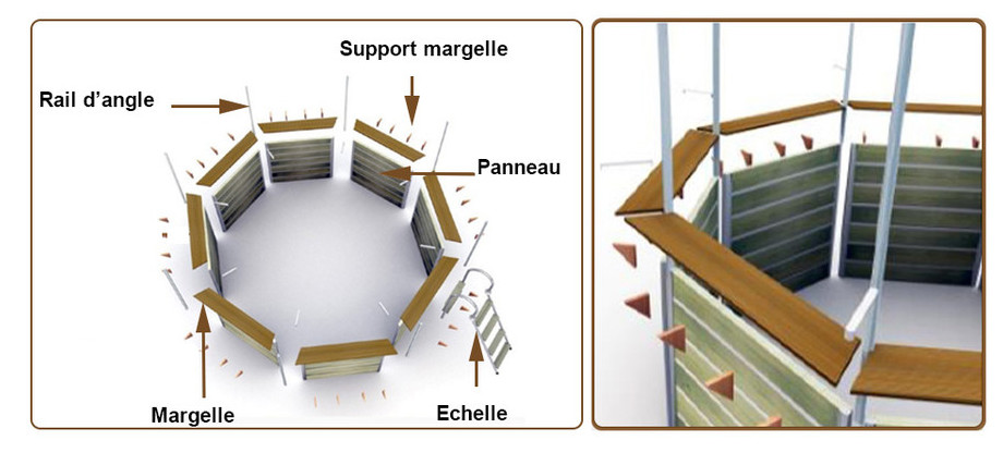 structure de la piscine bois Waterclip hexagonale sebuyan en situation