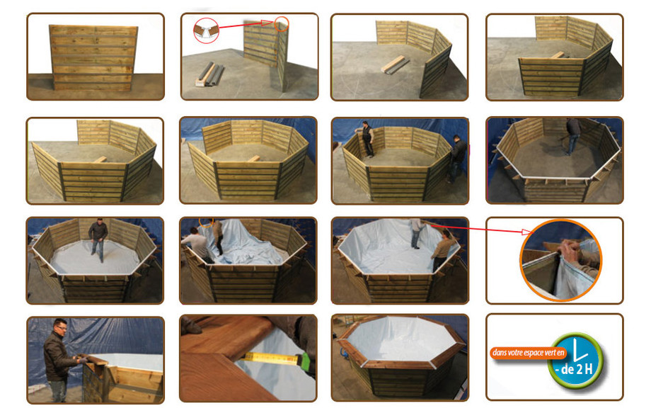 installation de la structure de la piscine waterclip sibuyan