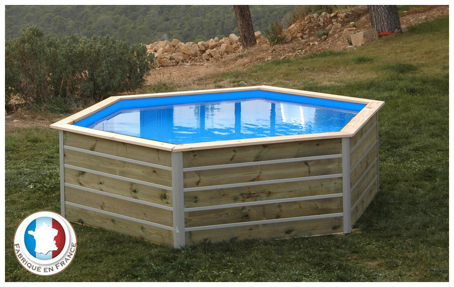 piscine bois hexagonale waterclip sibuyan en situation
