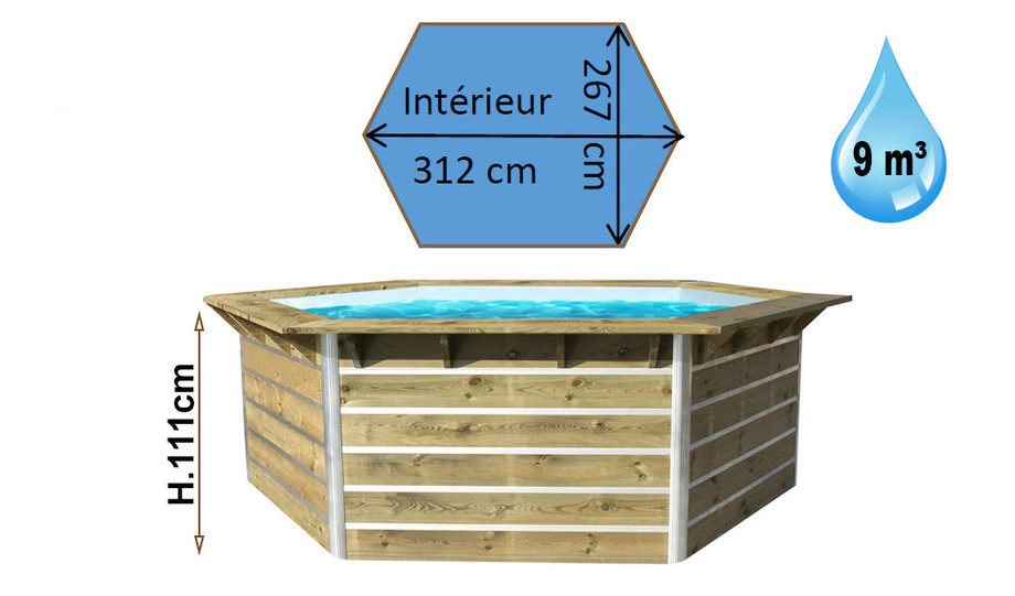 Piscine bois waterclip hexagonale hauteur 111cm piscine for Piscine semi enterree bois hexagonale