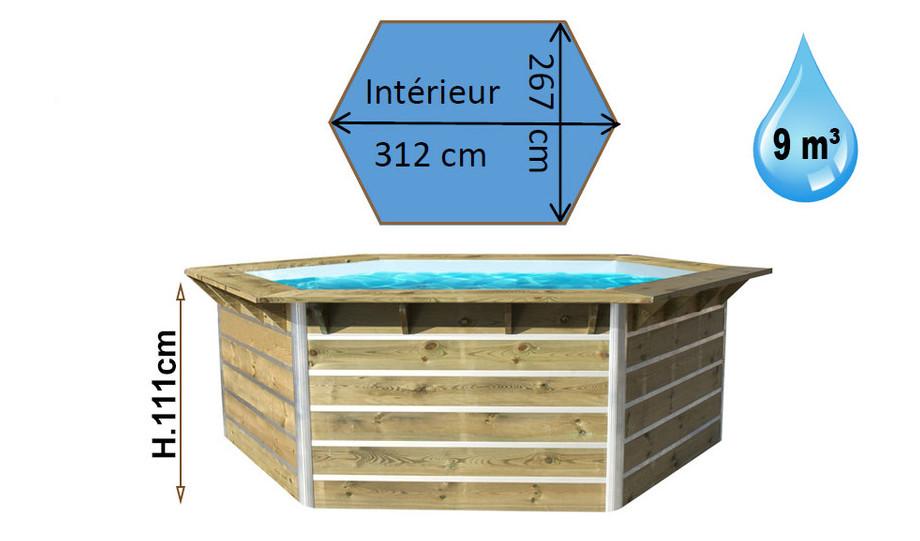 Piscine bois waterclip hexagonale hauteur 111cm piscine Piscine semi enterree bois hexagonale