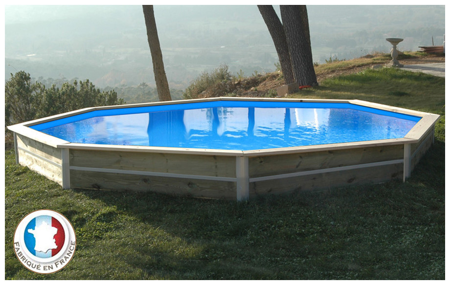 Piscine bois waterclip octogonale hauteur 40cm 460cm for Piscine waterclip