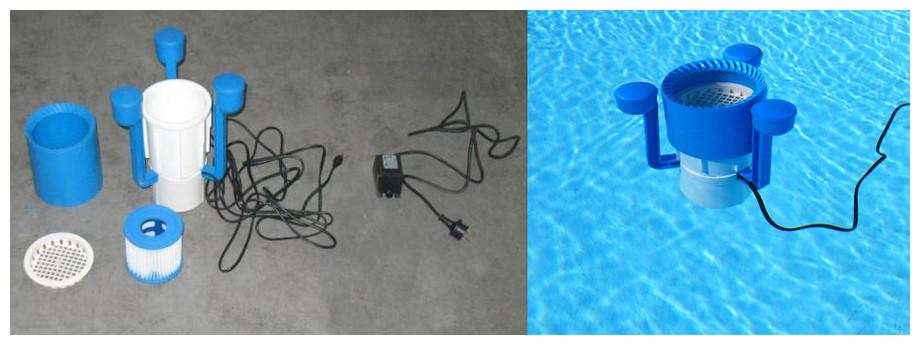 filtration de la piscine bois octogonale waterclip panay en situation