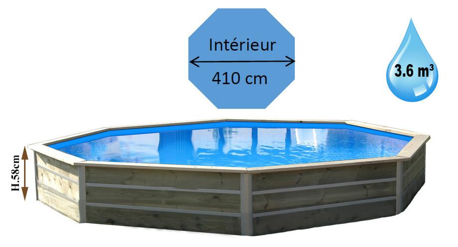 dimensions de la piscine bois octogonale waterclip panay en situation