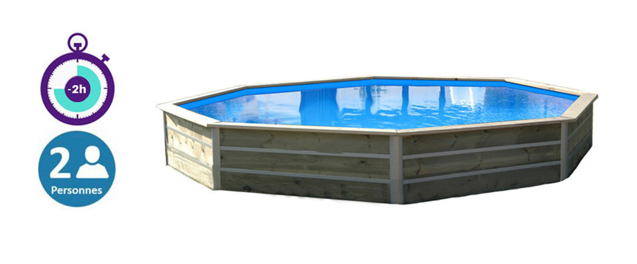 Piscine bois waterclip octogonale hauteur 58cm 460cm for Bcf international piscine