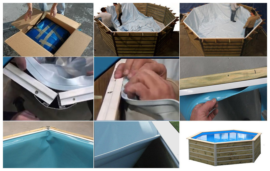 liner de la piscine bois octogonale waterclip bohol en situation
