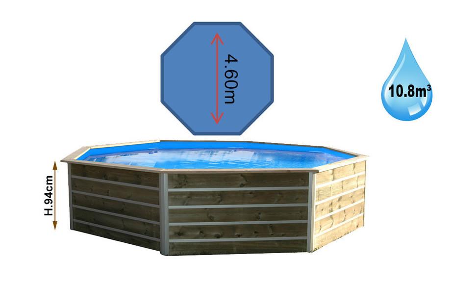 piscine bois waterclip octogonale hauteur 94cm 460cm piscine center net. Black Bedroom Furniture Sets. Home Design Ideas