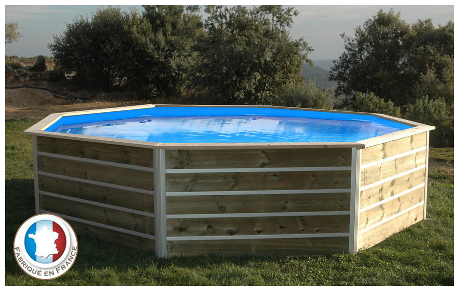 Piscine bois waterclip octogonale hauteur 94cm 460cm for Piscine waterclip
