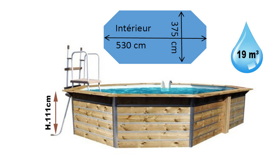 dimensions de la piscine bois Waterclip octogonale allongée lucon