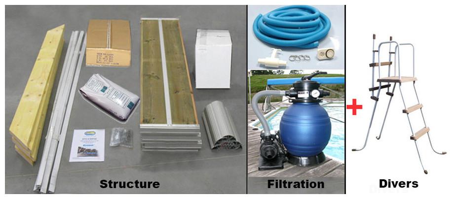 équipement complet de la piscine bois waterclip lucon en situation