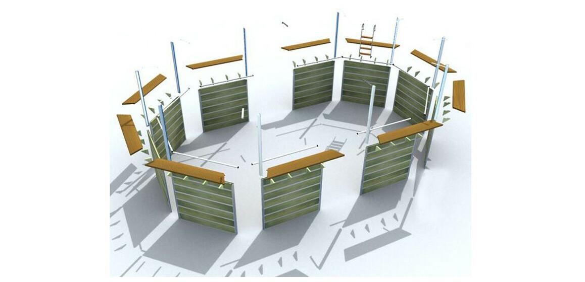 structure bois piscine waterclip octogonale allongée