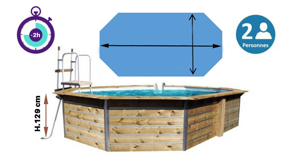 dimensions de la piscine bois waterclip octogonale allongée
