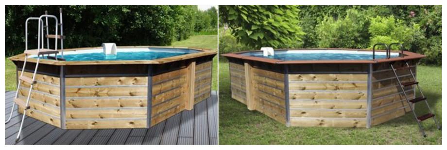 piscine bois octogonale allongée waterclip sabtang et fugua