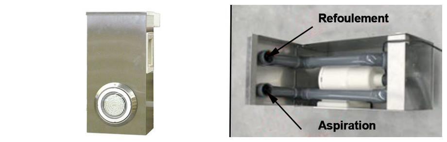 bloc skimmer en aluminium pour piscine bois octogonale allongée water clip