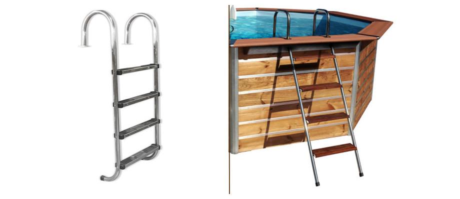 échelle d'accès piscine bois waterclip octogonale allongée