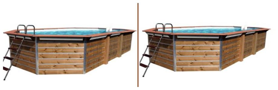 piscine bois octogonale allongée waterclip bangka et kea