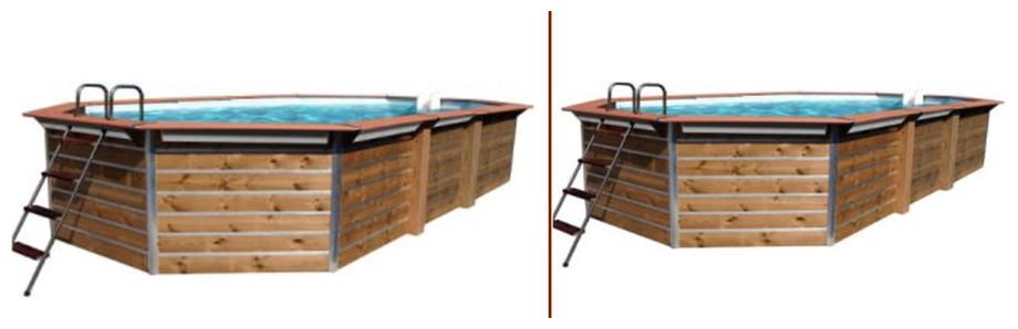 piscine bois octogonale allongée waterclip modèle milos et imbros