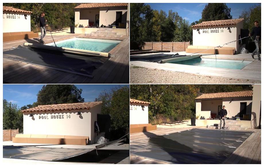 mise en place de la bâche à barres toutes saisons securit pool access