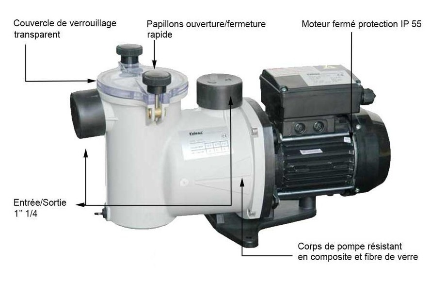 fiche technique de la pompe de filtration de piscine Ninfa by Kripsol