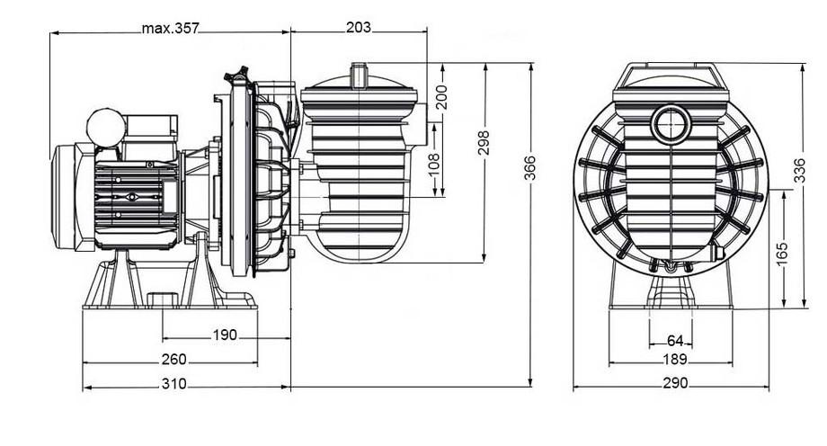 dimensions de la pompe centrifuge de piscine Sta Rite 5P2R
