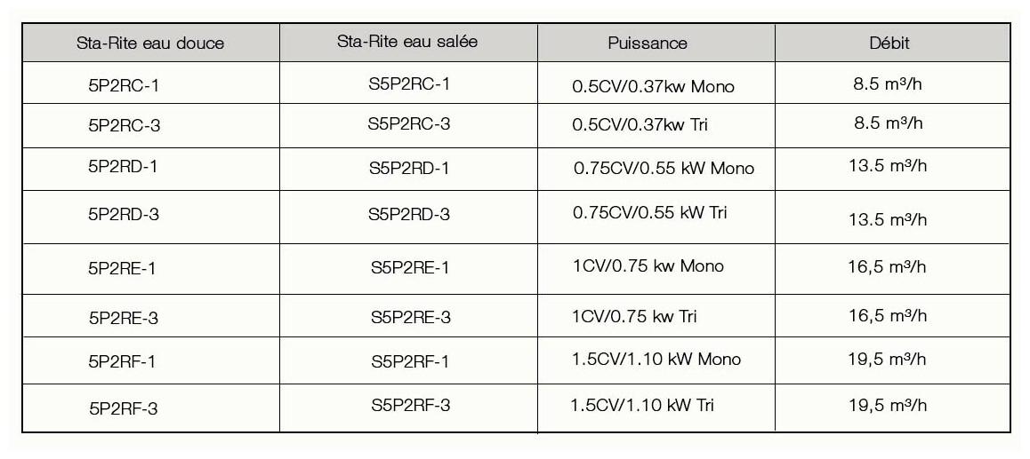 caractéristiques de la pompe de filtration starite 5p2r