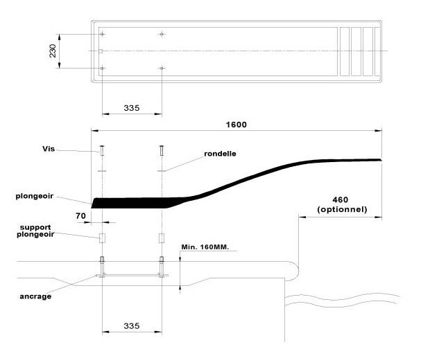 delfino plongeoir piscine schema installation dimensions