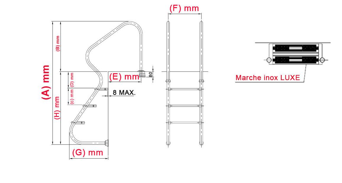 dimensions de l'échelle résidentielle accès facile tout inox