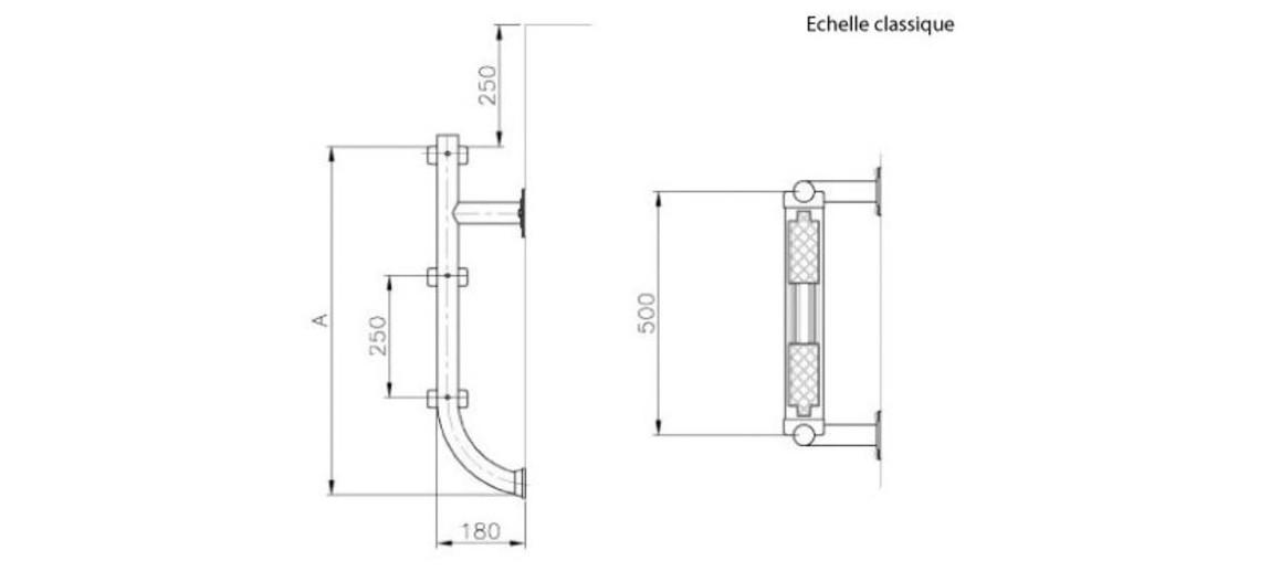 dimensions de l'échelle inférieur pour piscine enterrée