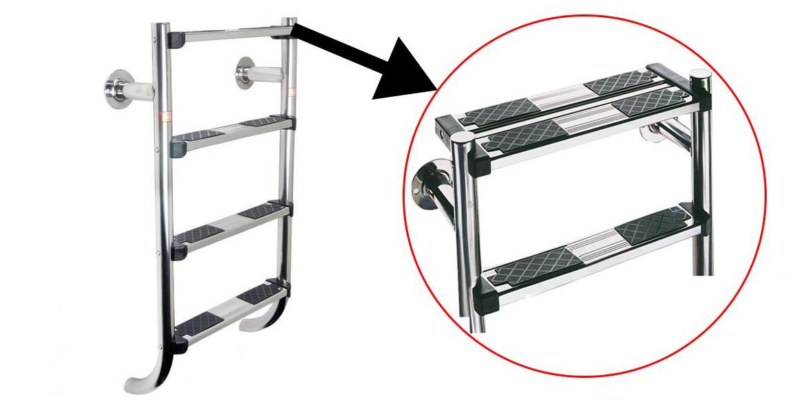 échelle de piscine compatible volet ou bâche avec marches de sécurité