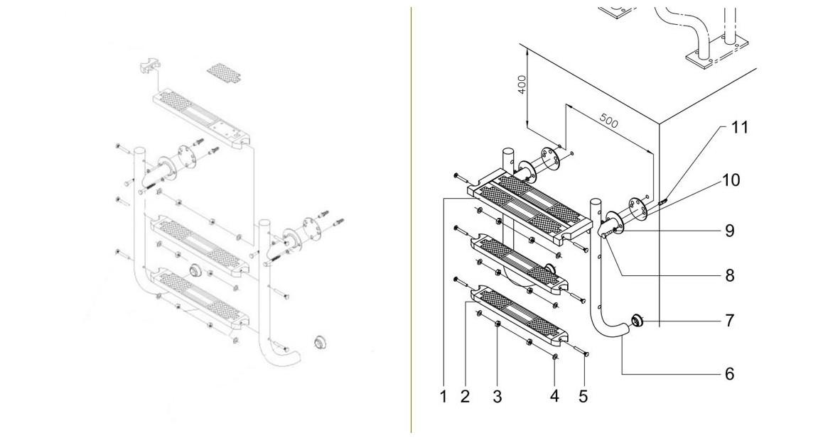 installation de échelle inférieur pour piscine enterrée compatible volet et couverture