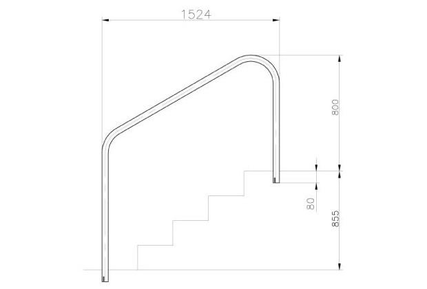 main courante piscine inox ancrage exterieur 1524 mm dimensions