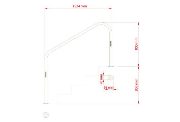 rampe inox 1524 mm a visser - dimensions